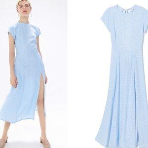 UO Lindsey Cap-Sleeve Midi Dress in Blue Multi Lg
